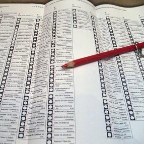 Stembiljet verkiezingen met rood potlood